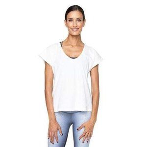 Varley Kerry White Short Sleeve Cut Out T-Shirt L